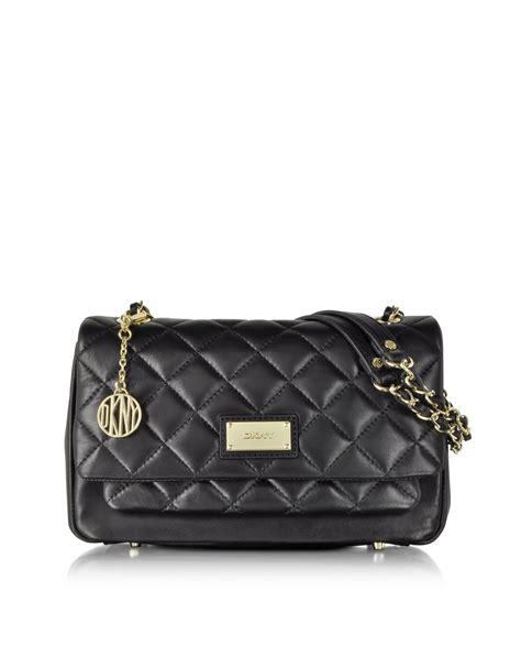 Quilt Bags by Dkny Gansevoort Black Quilted Nappa Shoulder Bag In Black