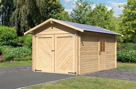 gartenhaus garage einzel garage 187 blockbohlen 1 171 natur bxt 280x430 cm