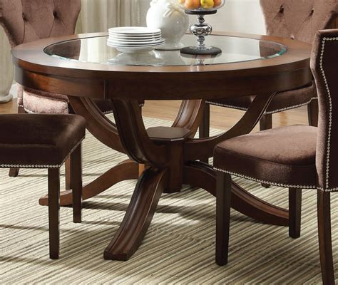 acme kingston glass top  pedestal dining table  brown cherry  pedestal tables