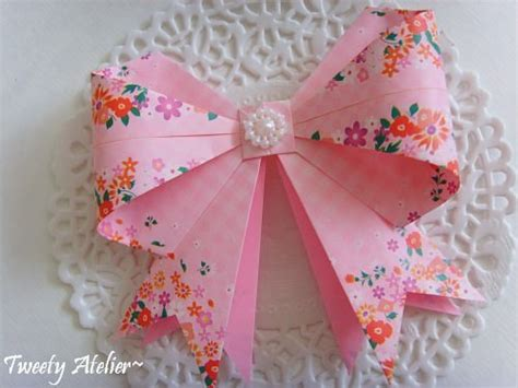 How To Make A Bow With Paper Ribbon - origami bow tutorial paper kawaii