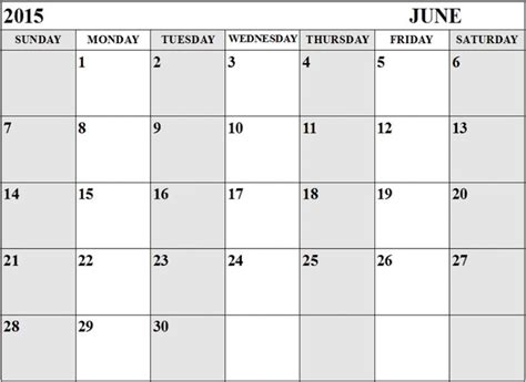 printable monthly calendar for june 2015 june 2015 calendar doc word excel and printable pdf