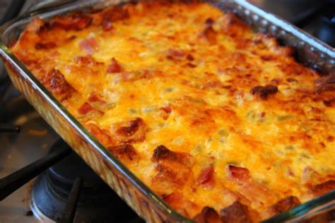 egg strata casserole breakfast strata that rocks it s full of ham and cheddar