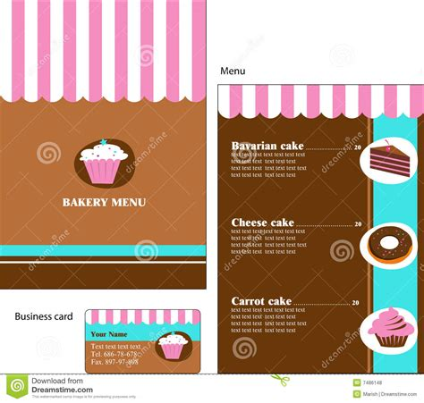 business card template for a bakery template designs of bakery and restaurant menu stock
