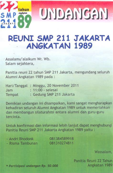 membuat undangan reuni smp reuni smpn 211 jakarta angkatan 89 dermaga71