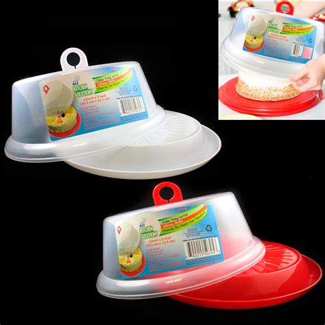 Cake Tray Set by 2 Set Plastic Cake Tray Cover Pie Dessert Hold Lid Caddy