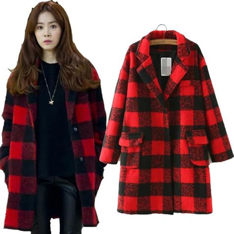 Trench Jacket Black Korean Style best korean style 2015 trench coat black plaid