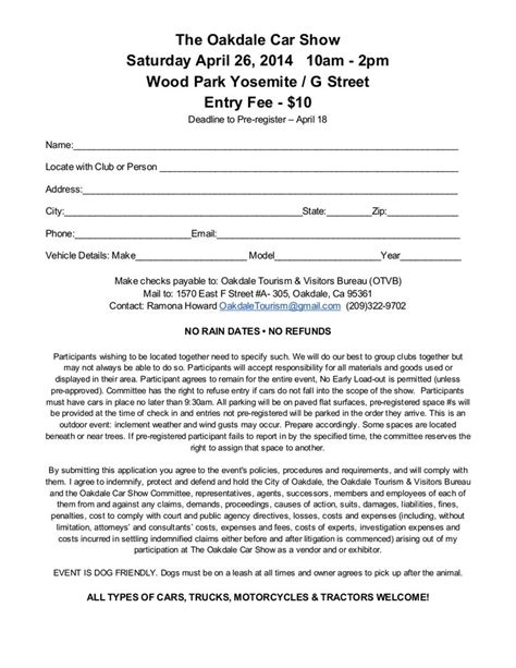car show window card template 19 best images about car show registration forms on