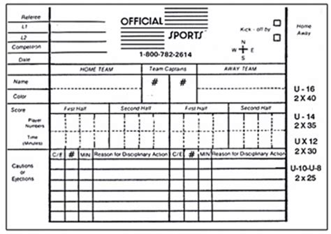 printable football referee card template referee score report forms and all soccer referee equipment