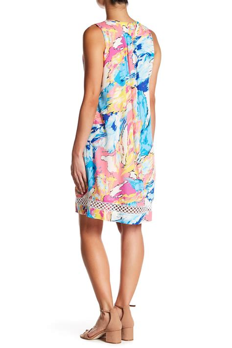 Charles Henry Tie Back Shift Dress by Lyst Charles Henry Sleeveless Printed Shift Dress In Blue