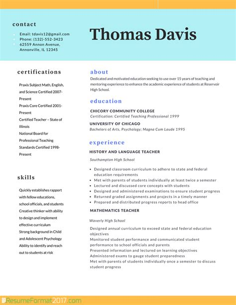 resume format 2015 for teachers professional resume format 2018 resume format 2017