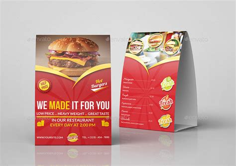 restaurant table tent card template restaurant and cafe table tent template vol9 by owpictures