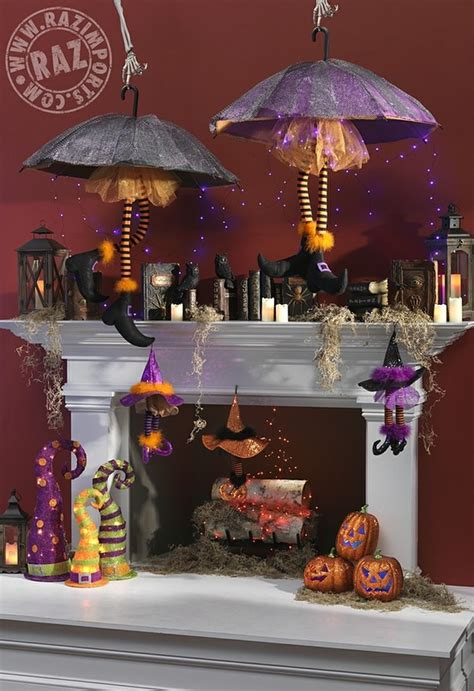 decoration ideas 2013 raz mantel with spell books witch legs witch hats string lights