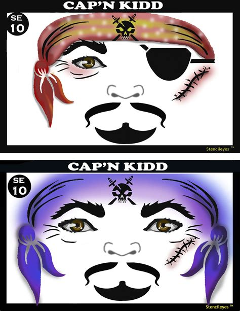 pirate face painting stencil