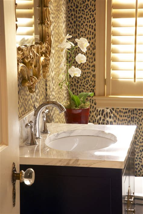 incredible cheetah print wallpaper decorating ideas for powder room traditional powder room minneapolis by