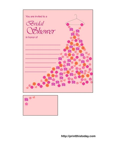 Bridal Shower Invitations Free by Free Printable Bridal Shower Invitations Floral Gown