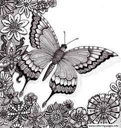coloring book adults butterflies floers for adults free coloring pages printable