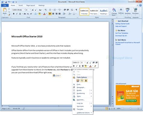 Office Starter by Microsoft Office Starter Screenshot And At