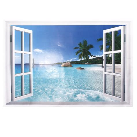 window wall stickers large 3d effect wall sticker sea window view decals