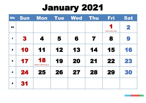 printable january  calendar  holidays