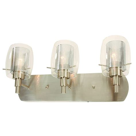 Hton Bay 4 Light Brushed Nickel Bath Light 05382 The Home Depot Hton Bay Arnstein 3 Light Brushed Nickel Vanity Light With Clear Glass And Mesh Shades 18759