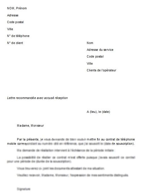 Lettre De Rã Siliation Mobile Et Modele Resiliation Contrat Telephone Fixe Document