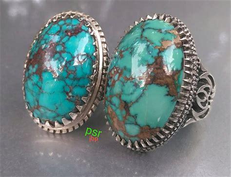 Batu Pirus Hijau Asli Batu cincin pirus hijau biru urat jala shajarian asli iran