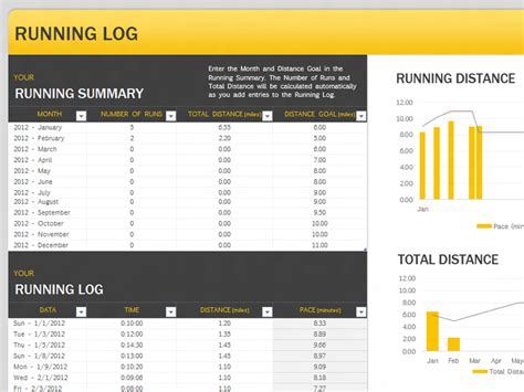running log template health and fitness office