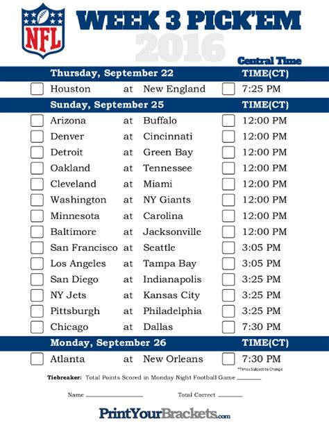 printable nfl schedule by week central time week 3 nfl schedule 2016 printable