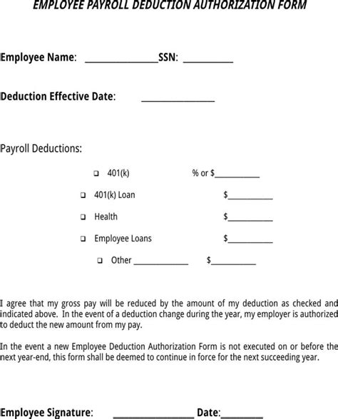 payroll section department of education download employee payroll deduction authorization form for