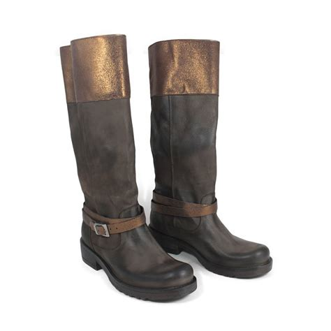 Biker Boots In Genuine Leather Brown With Metallic Bronze