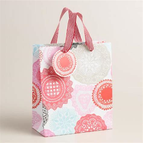 valentines gift bags valentines day doily gift bags set of 2 world market