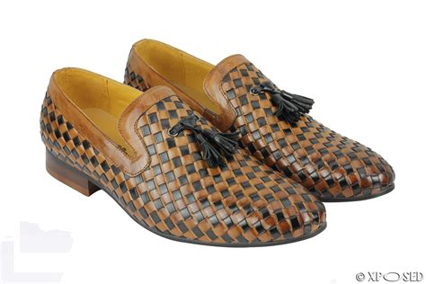 two tone tassel loafers mens black brown 2 tone woven real leather mod tassel