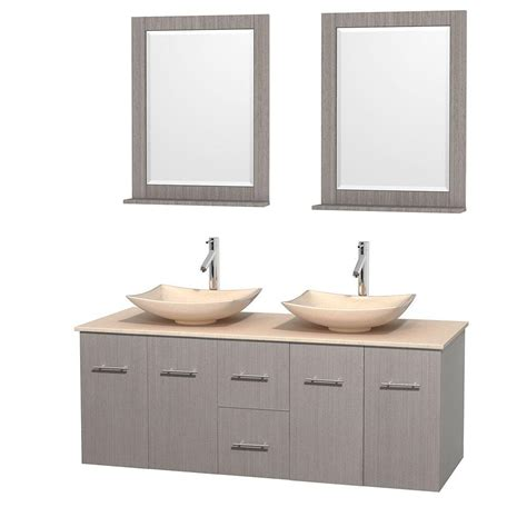 gray mirrored vanity with statuary marble top wyndham collection centra 60 in double vanity in gray oak