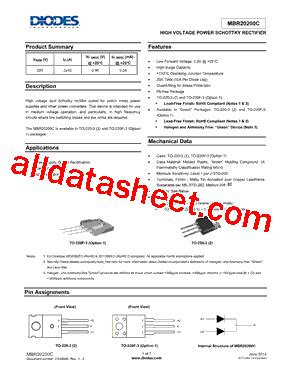transistor g1 datasheet mbr20200ctf g1 datasheet pdf diodes incorporated