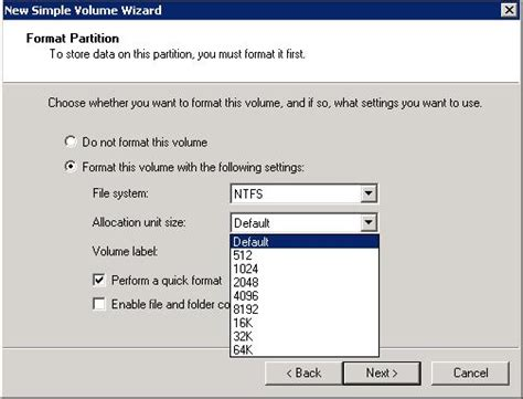 fat32 gui format allocation unit size ntfs allocation unit sizes for large volumes techrepublic