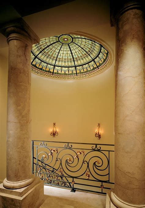 stained glass ceiling dome at the top of the spiral