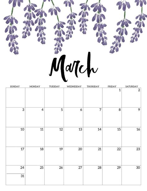 printable calendar  floral calendar  printable print calendar  printable