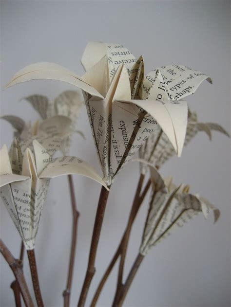 Origami Flowers With Stems - book page bouquet on twigs upcycled origami