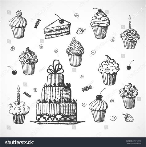 Cupcakes Setwedding And Birthday sketches cakes cupcakes isolated on white stock vector