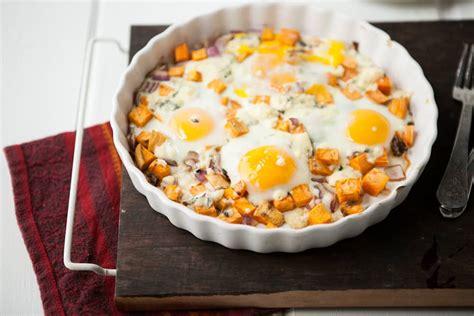Baked Egg Potato roasted sweet potatoes gorgonzola and baked eggs