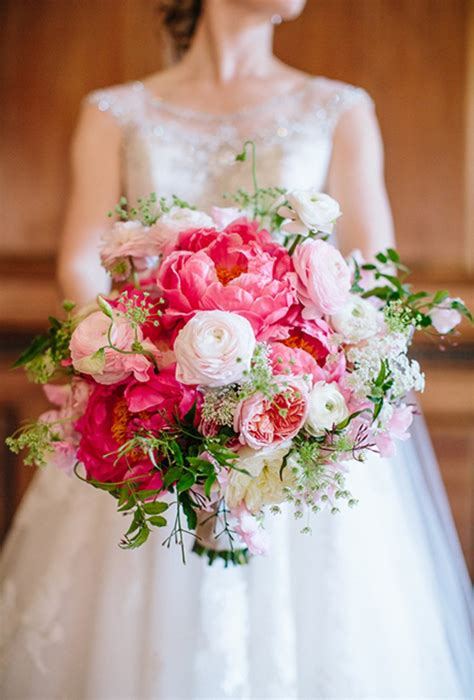 pink peonies wedding pink and white bouquet of peonies ranunculus and garden