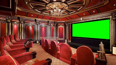 luxury home theater  green screen  stock footage