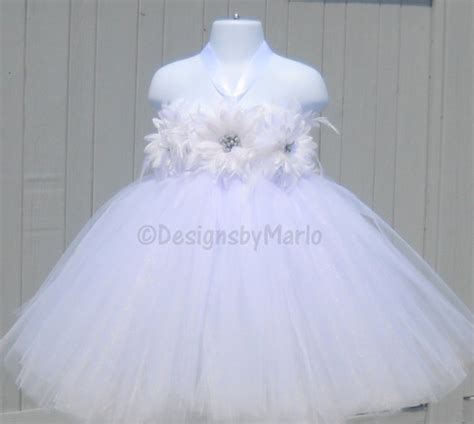 Dress Tutu White Blue Flower 4 6 Th Include Headbandgelangcincin white tutu dress any size white pageant dress size 6t 6x 6 7 8 white flower dress