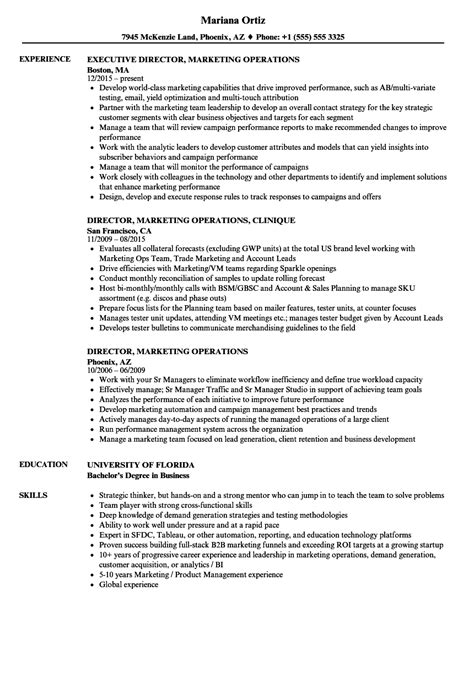 director of operations resume sle manufacturing
