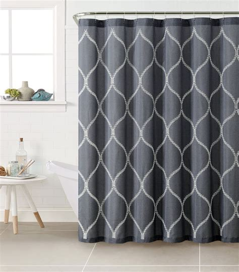 denim shower curtain denim blue with white embroidered trellis design fabric
