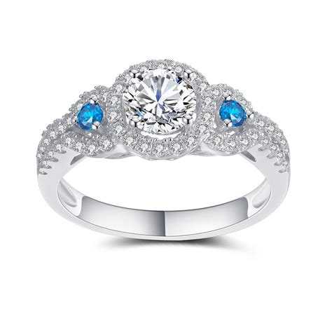 s blue and aquamarine 925 sterling silver engagement