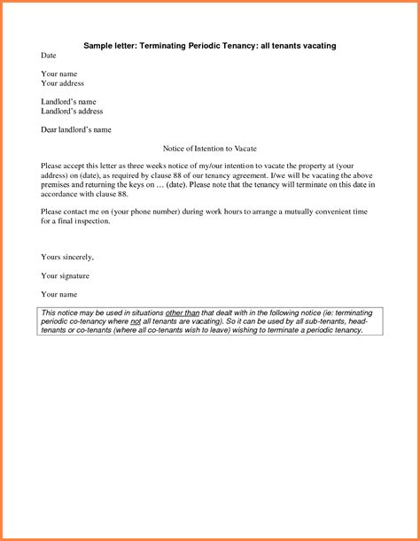 Rent Vacating Letter 11 Rental Notice Template Notice Letter