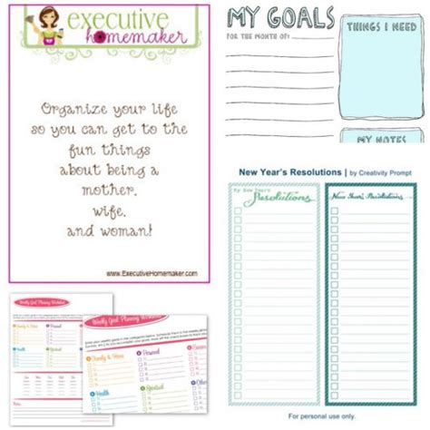 new year free printable worksheets 50 free printables for your new year resolutions tip junkie