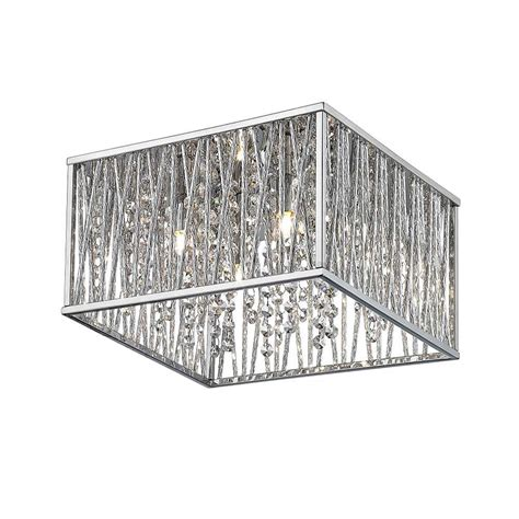 chrome flush mount light home decorators collection 16 in 4 light chrome square