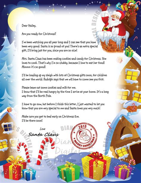 free printable personalised letter from santa template items similar to personalized letter from santa claus